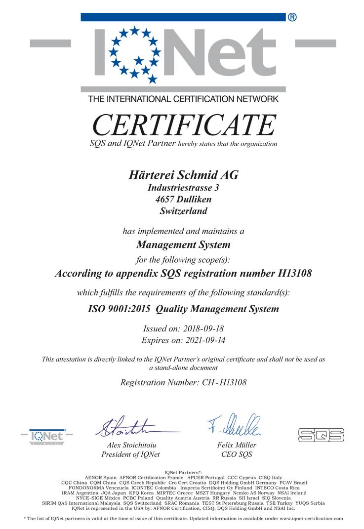 IQNet Zertifikat – Härterei Schmid AG
