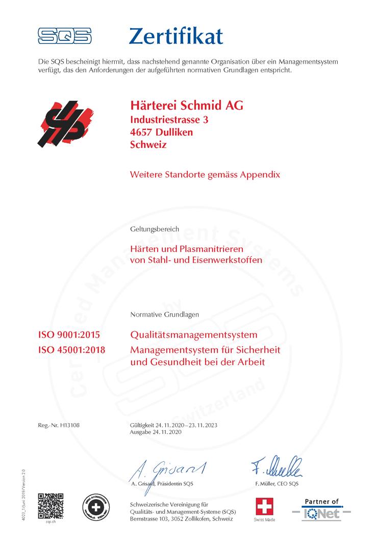 SQS Zertifikat – Härterei Schmid AG
